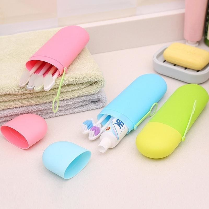 Portable Toothbrush Toothpaste Case Holder Travel Hiking Camping Brush Cup