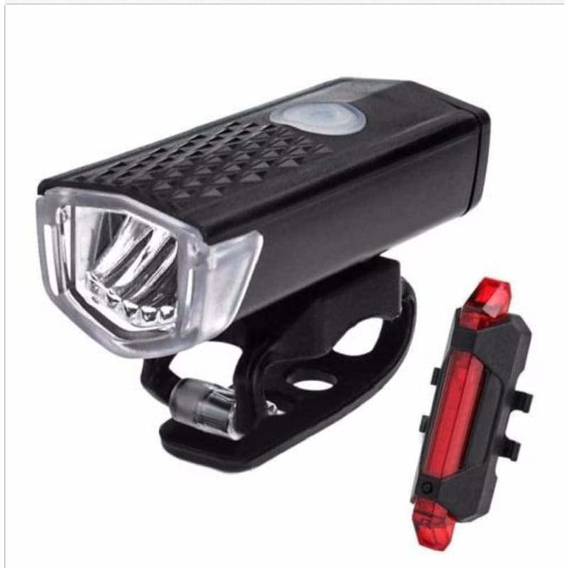 USB Rechargeable LED Head Front Light Rear Tail Lamp Set For Bike Bicycle Cycle