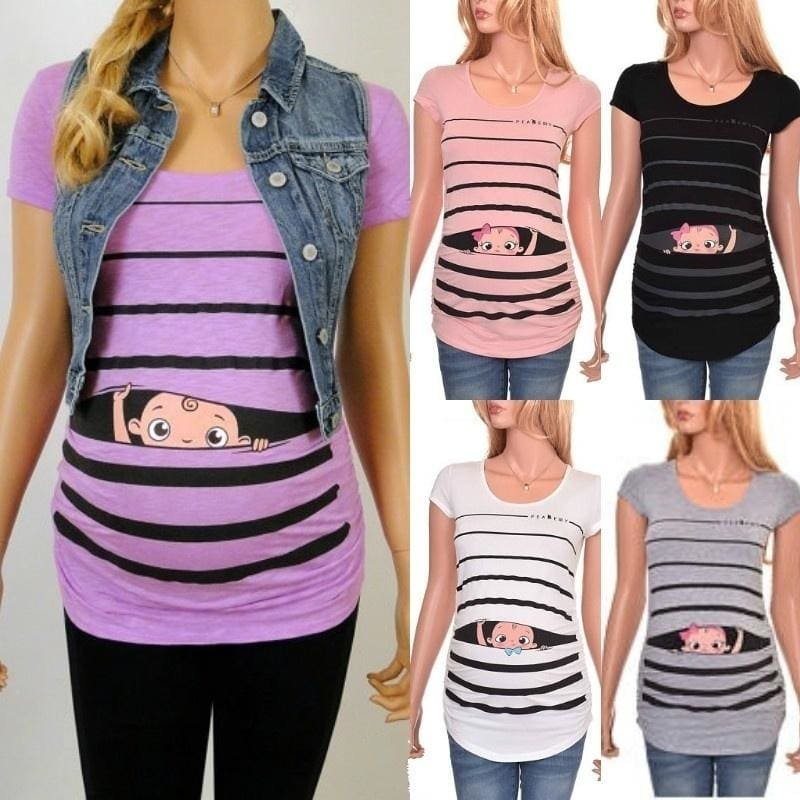 Ladies Maternity Baby Boy Printed T-Shirt Pregnant Clothes large