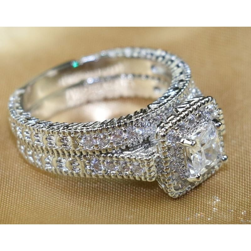 Exquisite Women White Gold Filled Band Ring Clear Cz Wedding Jewelry Gift Sz5-10