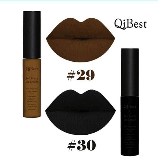 Qibest 30 Color Choose Moisturizer Waterproof Lipstick Makeup Long Lasting Matte Velvet Dark Color Lip Gloss for Women Girls