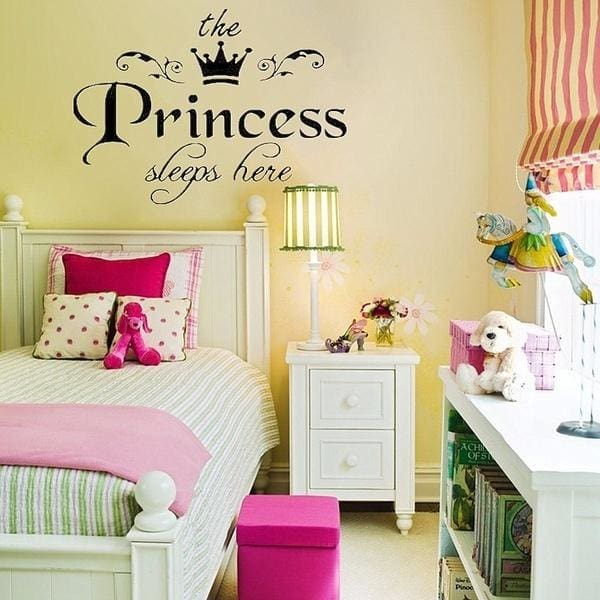 Removable Princess Sleeps Here Wall Stickers Art Vinyl Decals Girls Room  Decoration wsch