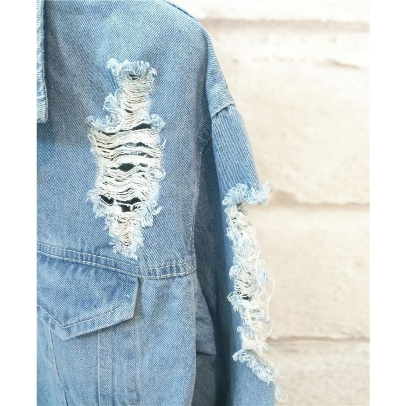 Retro Washing Frayed Embroidery Letter Patch Jeans Bomber Jacket Light Blue Ripped Denim Coat