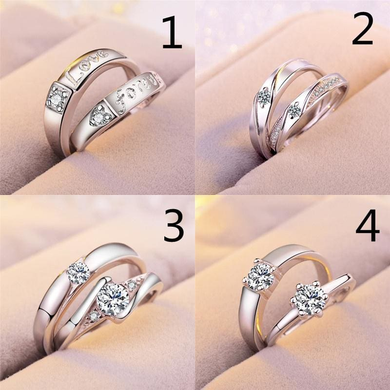 Romantic Valentine Fashion Simple Opening Ring Couple Rings Female