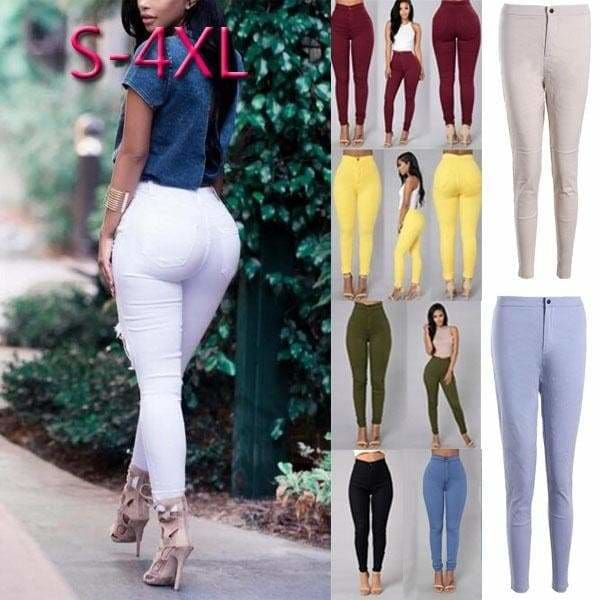 Fall Pants Pencil Trousers Ladies High Waist 14 Colors Long Plus Size Skinny
