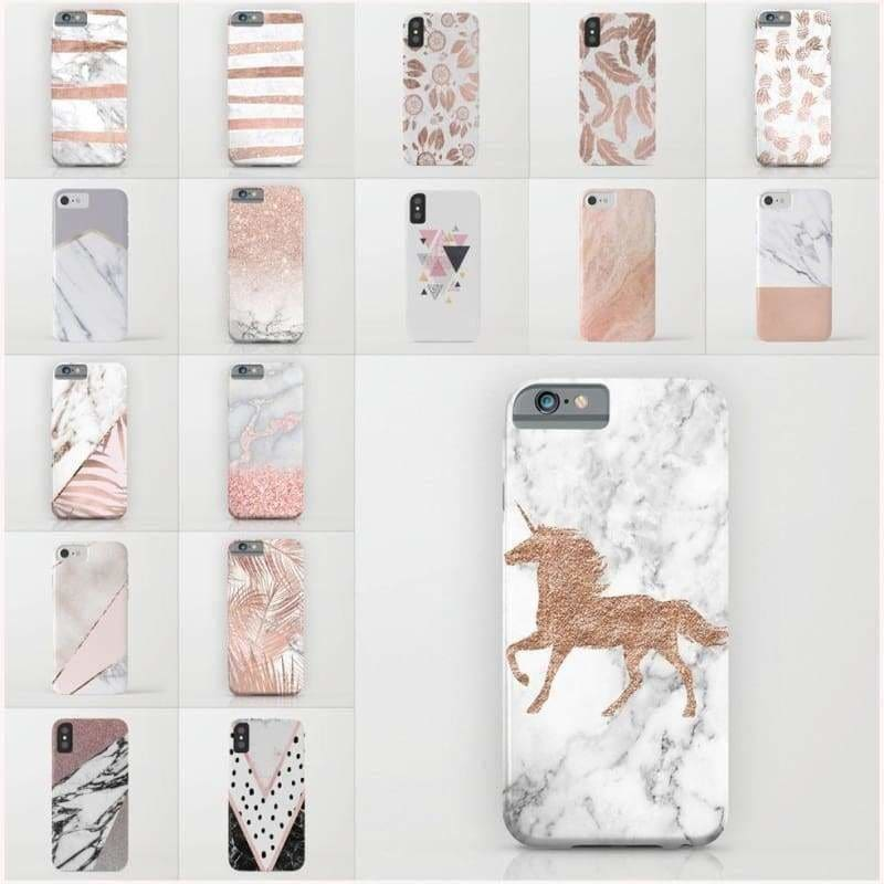 Simple Rose Gold Unicorn Marble Geometric Pattern Phone Case for Iphone 8 IPhone X 5/5se/5s 6/6S Plus 7/7 Plus Soft TPU Silicon Phone Cases