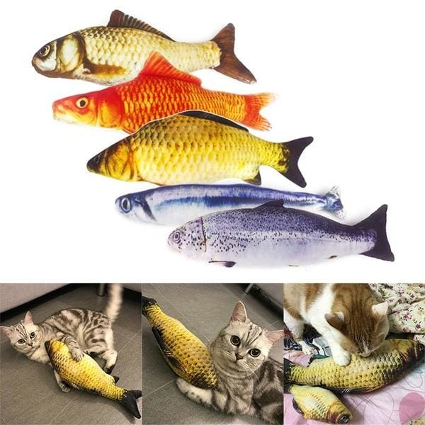 Simulation Pet Cat Toy Cat Wagging Fish Realistic Plush Toy Fish Cat Mint Fish Pet Supplies Catnip Soft Gift for Pet Che