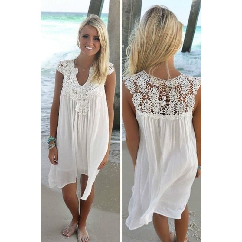 Sleeveless Sexy Fashion Women Casual Chiffon Dress V neck Short Sleeve Lace Crochet Patchwork Hollow Out Mini Loose Beach Dress