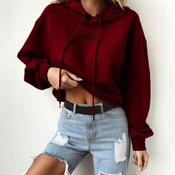Solid Color Cropped Hoodies Women Short Style Sweatshirts Female Pullovers Autumn Hoodie Sweatshirt Popular Clothes Women Long Sleeve Letter Print