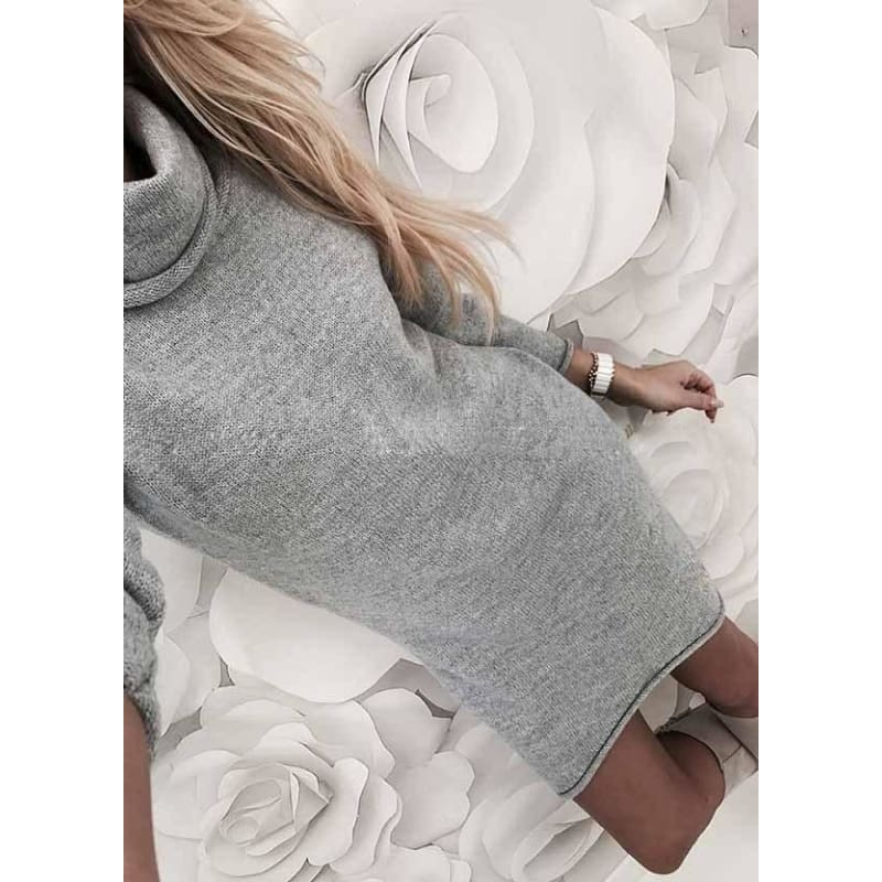 Spring Winter Fashion Knitted Sweater Dresses Turtle Neck Long Sleeve Straight Office Dress