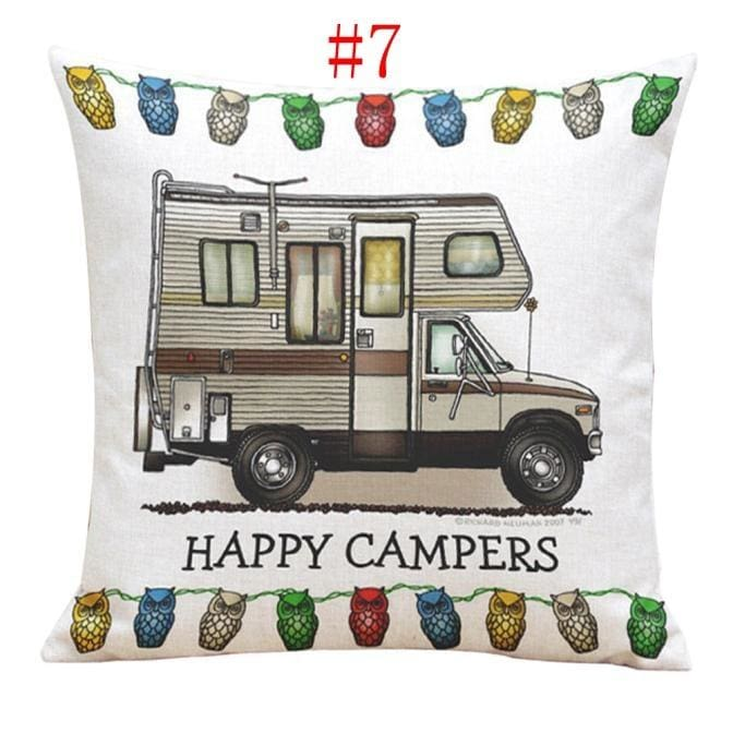Bed Happy Car Decor Square Protector Sofa Camper Cushion Pillow Throw Cover Case