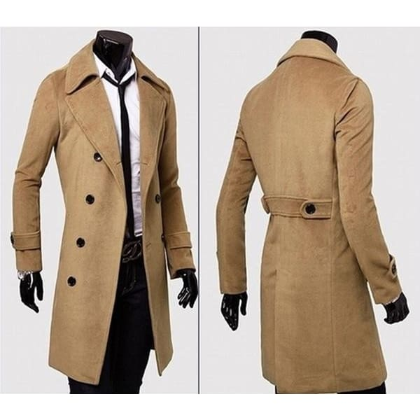 Fashion Men/'s Slim Double Breasted Trench Coat Long Jacket New Overcoat Outwear