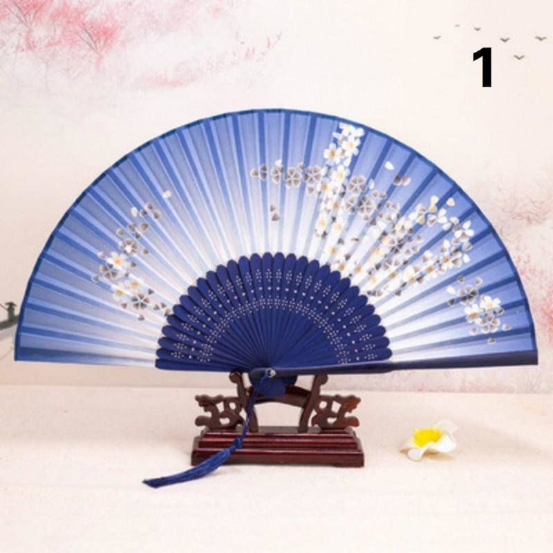 Random White Double Side Wooden Spanish Floral Print Hand Folding Fan Party Gift