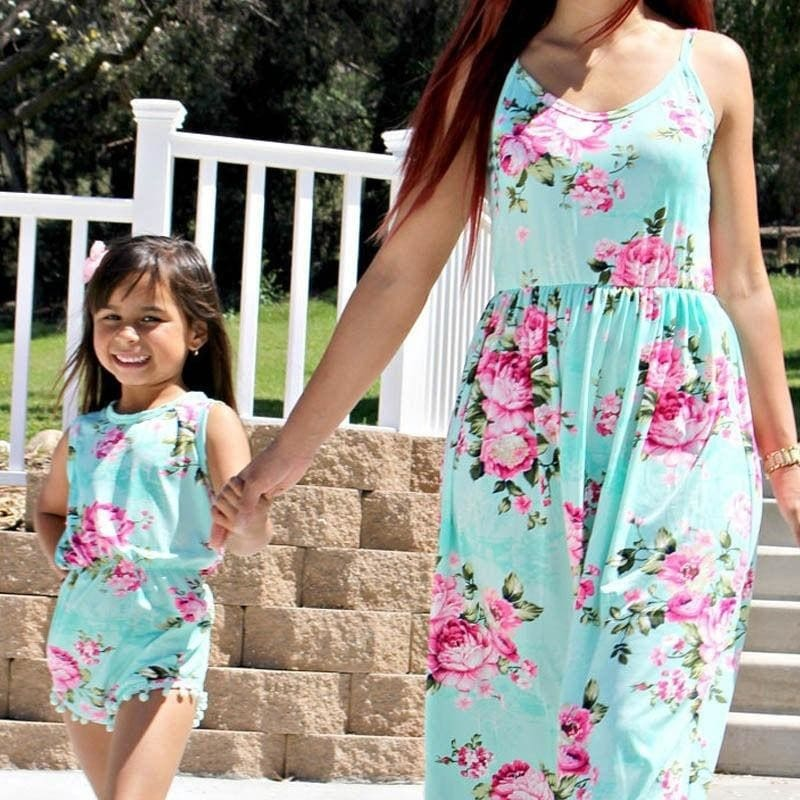 Mother and Daughter Matching Summer Floral Maxi Dress