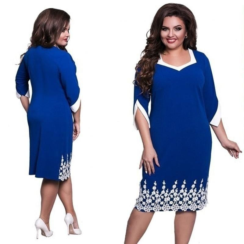 Summer Fashion Lace Embroidered Women Dress Office Dresses Plus Size Casual  Loose Comfortable Dresses