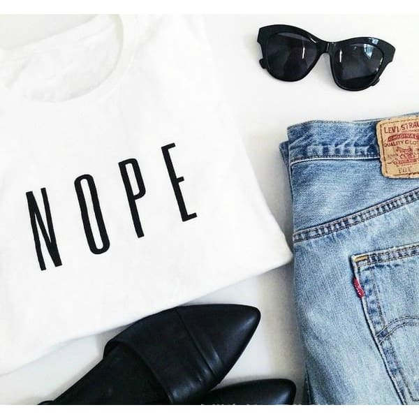Summer Fashion White Grey Graphic T-shirt Women Loose Cotton Tops Tees Printed NOPE Plus Size