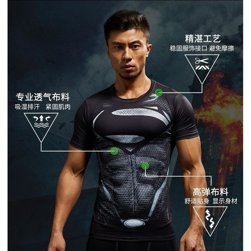 Men/'s Compression 3D Printed T-shirts Workout Gym Tops O-neck Tee Sports Jersey