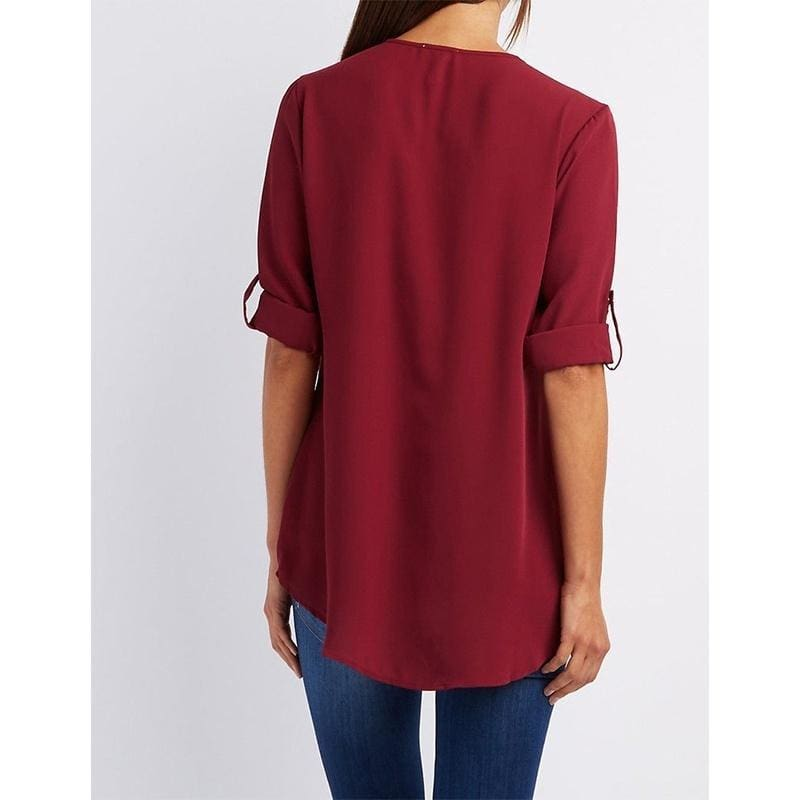 S~XXXXXL Plus Size Women Fashion Chiffon Shirt V-neck Long Sleeve Loose Tops T Shirt