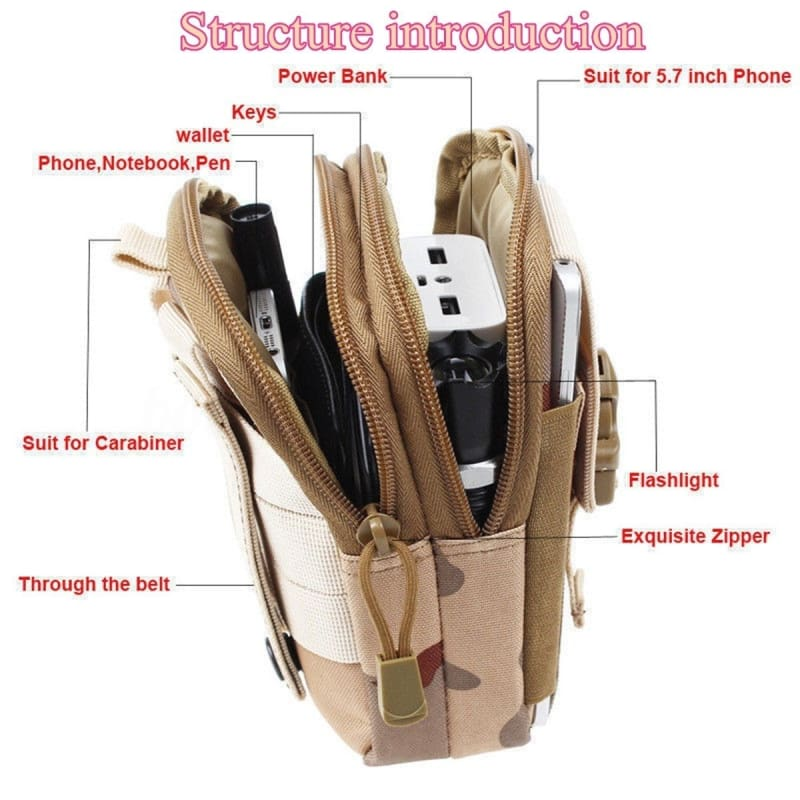 Tactical Molle Pouch Belt Waist Pack Bag Military Fanny Pack Mobile Phone Pocket