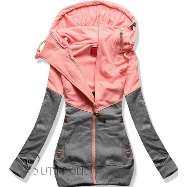The New Womens Personality Color Double Zipper Hooded Long Sleeved Cashmere Sweater with Women