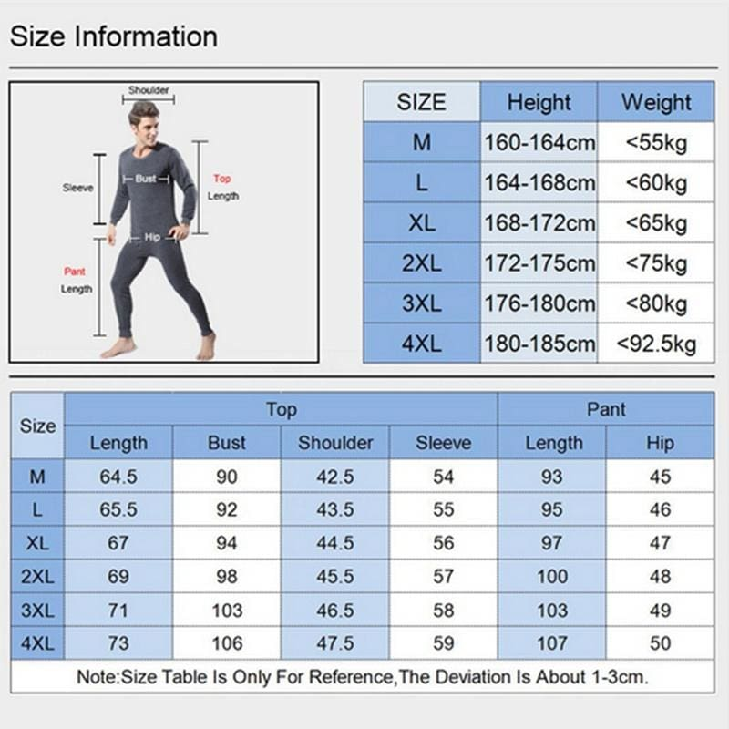 Thermal Underwear Set Winter Thicken Long Johns Men Warm 2pcs Tops Bottom Cotton