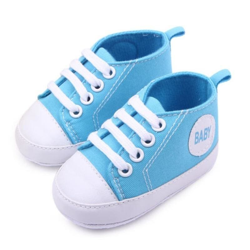 Baby Soft Sole Crib Shoes Kids Boy Canvas Pram Shoes Sneakers Prewalkers 0-12M