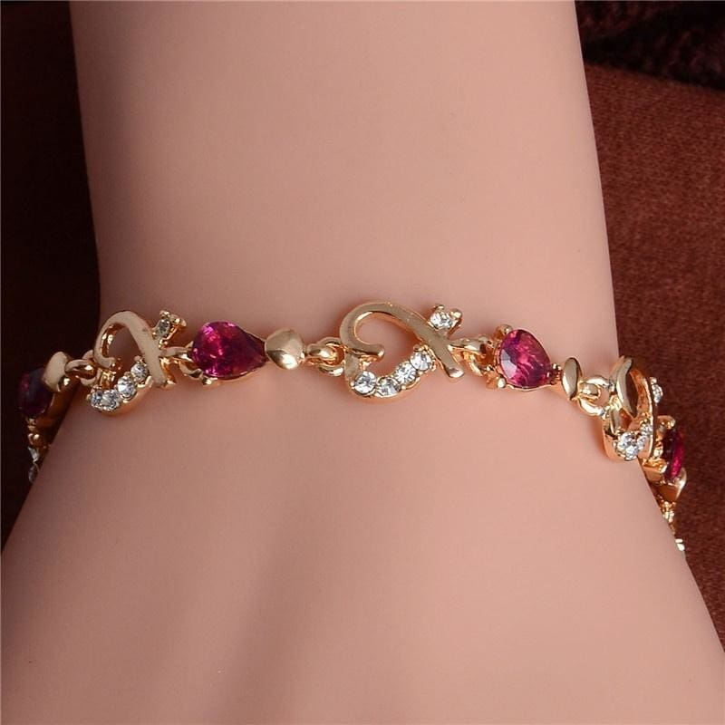 Fashion Gold Plated Women/'s Jewelry Crystal Heart Bangle Pearl Bracelet Hot
