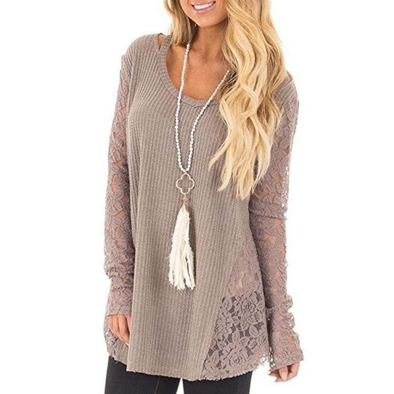 US Ladies Women Lace Patchwork Oversized Long Sleeve Baggy Sweater Jumper Tops