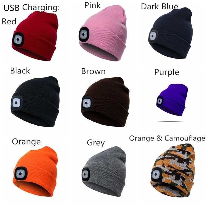 Men Women Winter Knit LED Beanie Cap With USB Rechargeable Battery Light Fashion