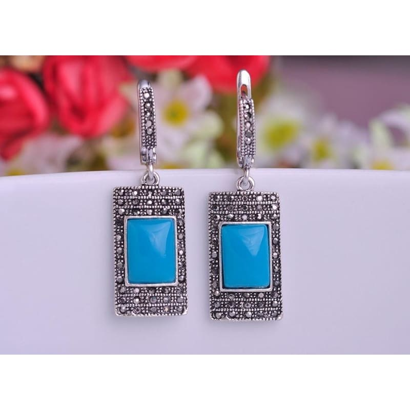 Retro Gifts Jewelry Crystal Rhinestone Antique Ring Silver Plated Rectangle