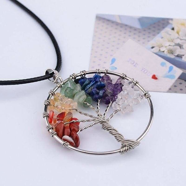 Vintage Women`s Girl Natural Crystal Quartz Gemstone 7 Chakra Healing Tree of Life Pendant Necklace Jewelry Gift Hot JZ - Heart