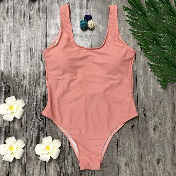WF New Women Vest Swimwear One Piece Bikini Set Sexy Pure Color Beachwear Backless Bikini Swimming Suit