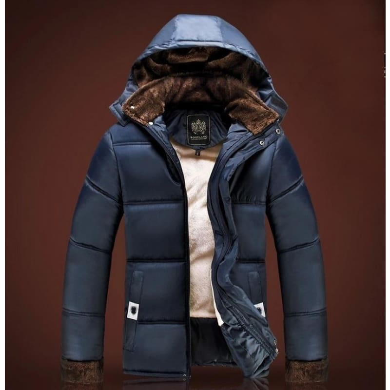 Winter Outdoor Mens Warm Hooded Jacket with Plush Lined