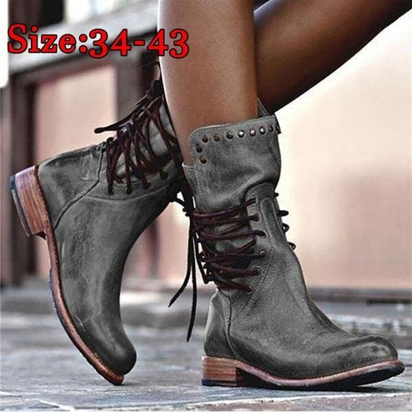 Womens Chunky Non-slip Heel Lace Ups Round Toe Combat Military Ankle Boots  34-43