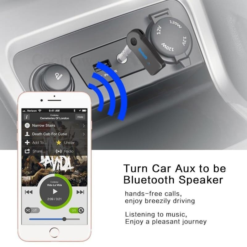 Wireless Bluetooth Audio Stereo Music Car Receiver 3.5mm AUX Adapter Speaker CA