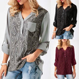 Women Casual Plus Size V Neck 3/4 Sleeve Floral Blouse Shirt - 2XL / Black