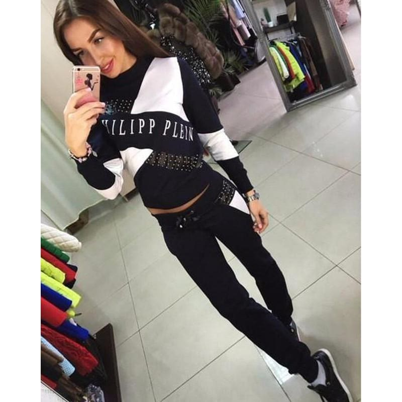 Womens Cropped Tops Pullover Hooded Sweatshirts and Pants Sets Suits Tracksuits