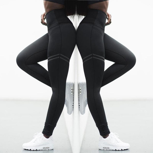 Women Fashion Black Leggings Black Yoga Leggings Sport Running Pants Stretch Leggings