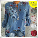 Women Fashion Casual Chiffon Long Sleeve Shirts V-neck Tunic Outfit Blouse Flower Floral Print Tops
