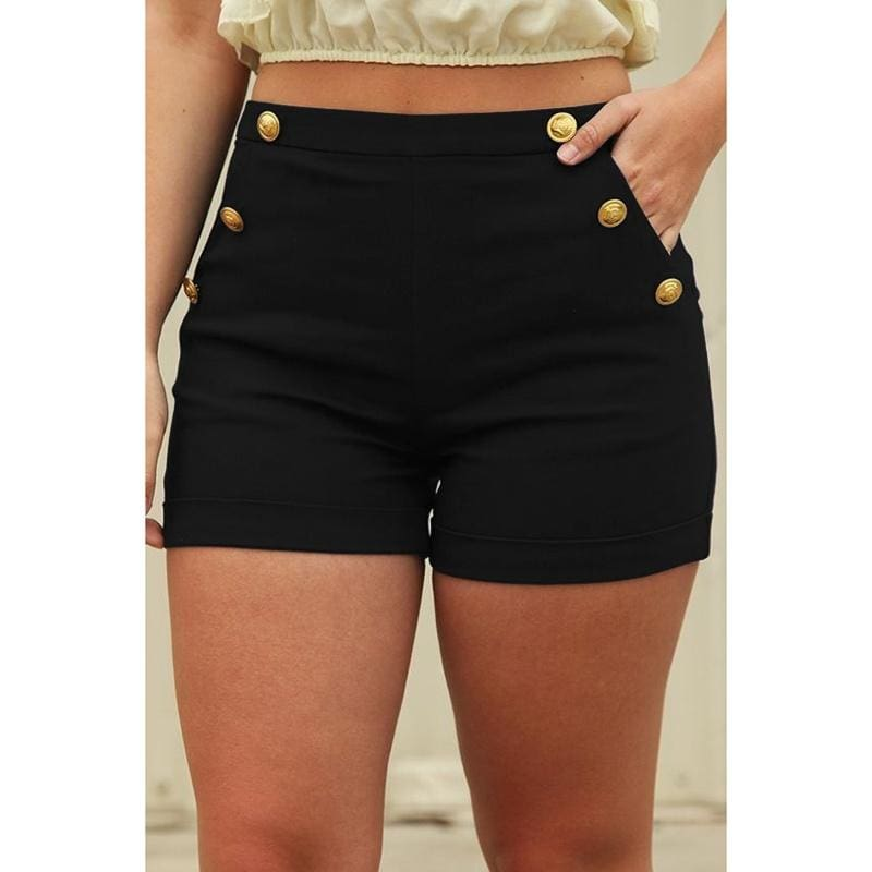 Women/'s High Waisted Button Shorts Slim Fit Stretch Casual Short Pants
