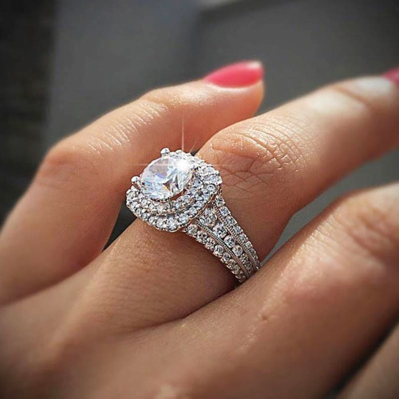 Women Fashion Jewelry Ring Round Diamond Wedding Ring Anniversary