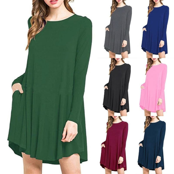 Women Fashion Mini Pocket Dress Long Sleeve Solid Color Loose Long O Neck Pullover Dress