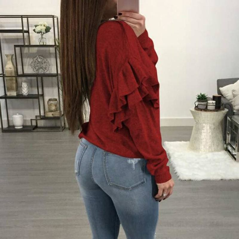 Women Fashion Solid Color Sexy Long Sleeve Deep V-neck Button Knitted Knitwear Tops