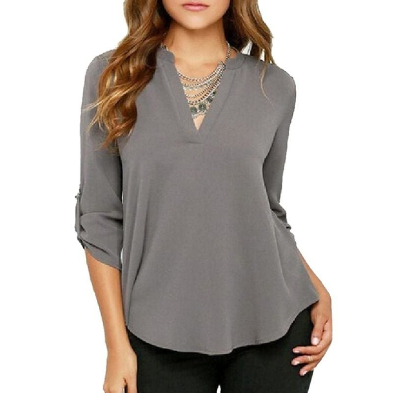 Women Fashion V Neck Solid Color Chiffon Blouse Sexy Lady Loose Long Sleeve Plus Size Top XS-5XL