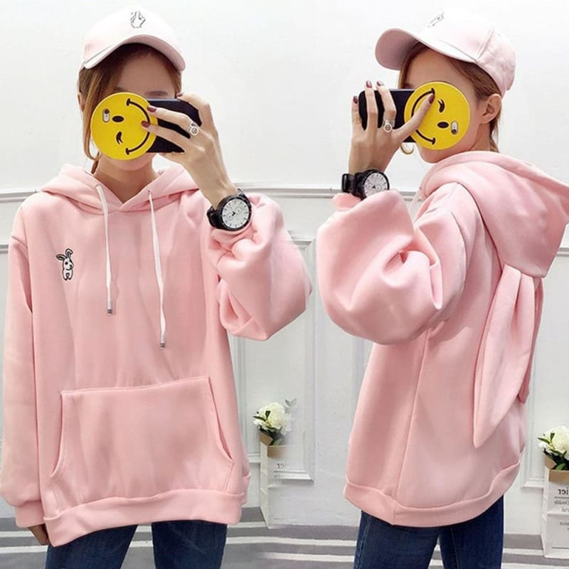 Women Autumn Hoodies Rabbit Ears Loose Long Sleeves Pullover with Pockets Cute