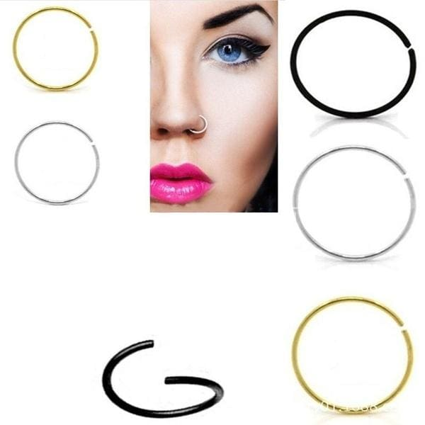 Women Girl Surgical Steel Thin Small Silver Nose Rings Hoop
