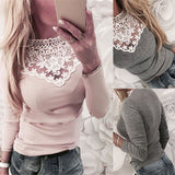 Women Lace Patchwork Slim V-nec Sexy Bodycon Fashion Plus Size T Shirt