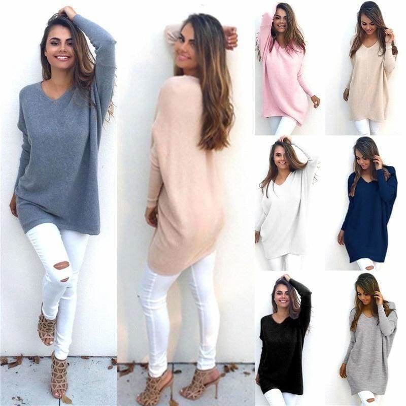 Womens V Neck Loose Long Sleeve Sweater Casual Baggy Pullover Jumper Blouse Top
