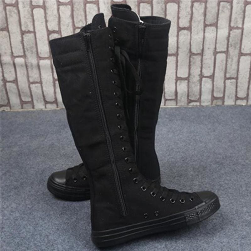 Womens Boots Knee Length Zipper Flat Solid Casual Soft Lace Up Winter Shoes Plus