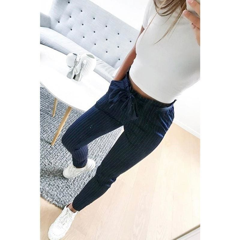 Women OL chiffon high waist harem pants bow tie drawstring sweet elastic waist pockets casual trousers pantalones